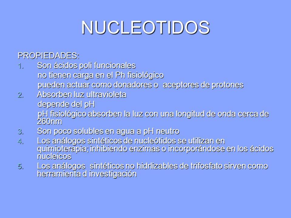NUCLEOTIDOS PROPIEDADES: Son ácidos poli funcionales