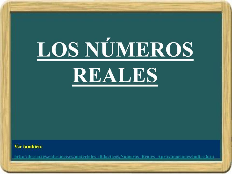 LOS NÚMEROS REALES Ver también: