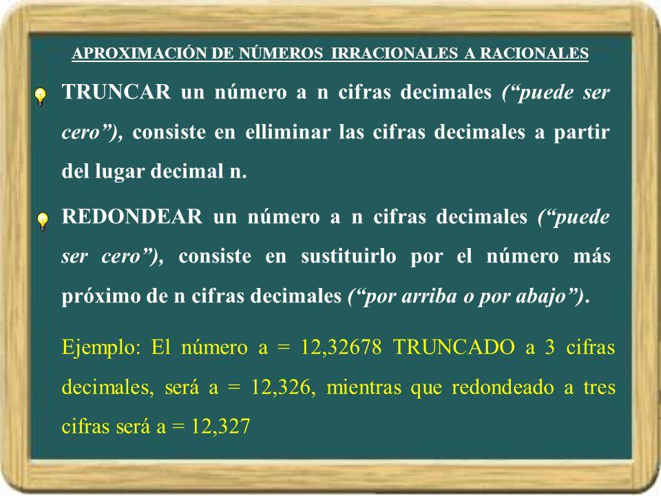 APROXIMACIÓN DE NÚMEROS IRRACIONALES A RACIONALES