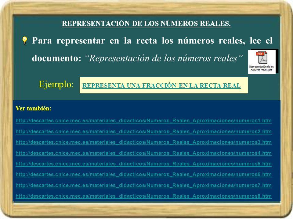 REPRESENTACIÓN DE LOS NÚMEROS REALES.