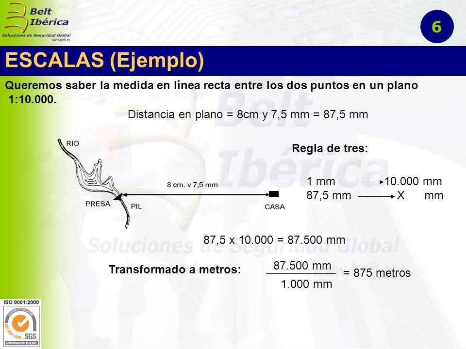 6 ESCALAS (Ejemplo) Queremos saber la medida en línea recta entre los dos puntos en un plano. 1:10.000.