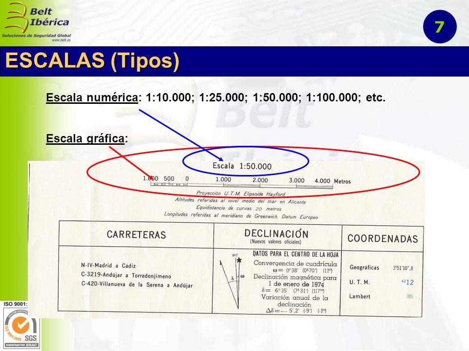 7 ESCALAS (Tipos) Escala numérica: 1:10.000; 1:25.000; 1:50.000; 1:100.000; etc. Escala gráfica: