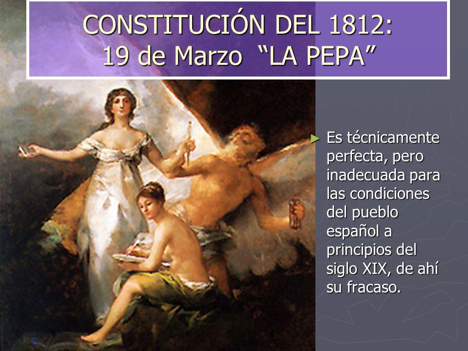 CONSTITUCIÓN DEL 1812: 19 de Marzo LA PEPA