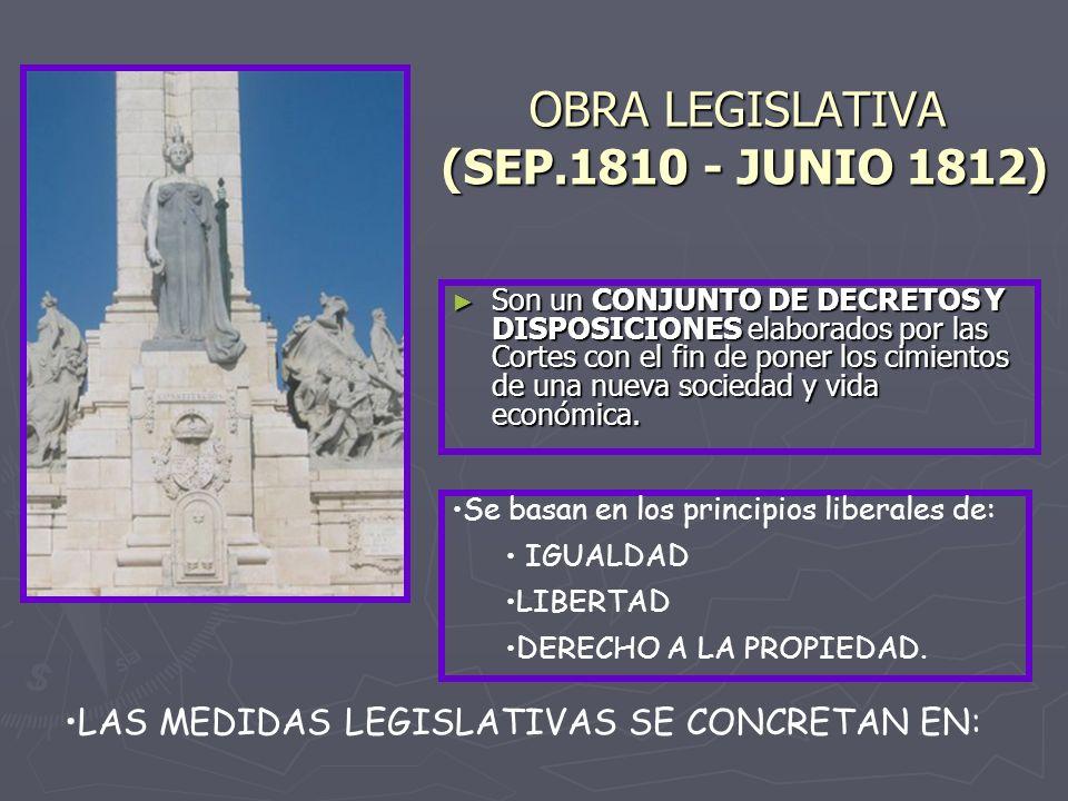 OBRA LEGISLATIVA (SEP.1810 ‑ JUNIO 1812)