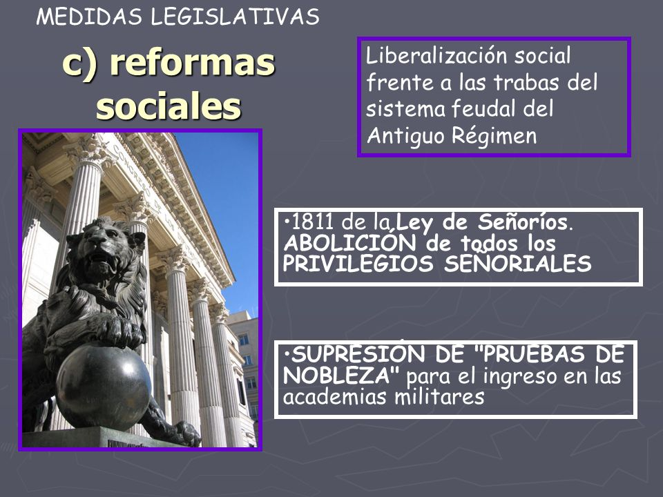 c) reformas sociales MEDIDAS LEGISLATIVAS