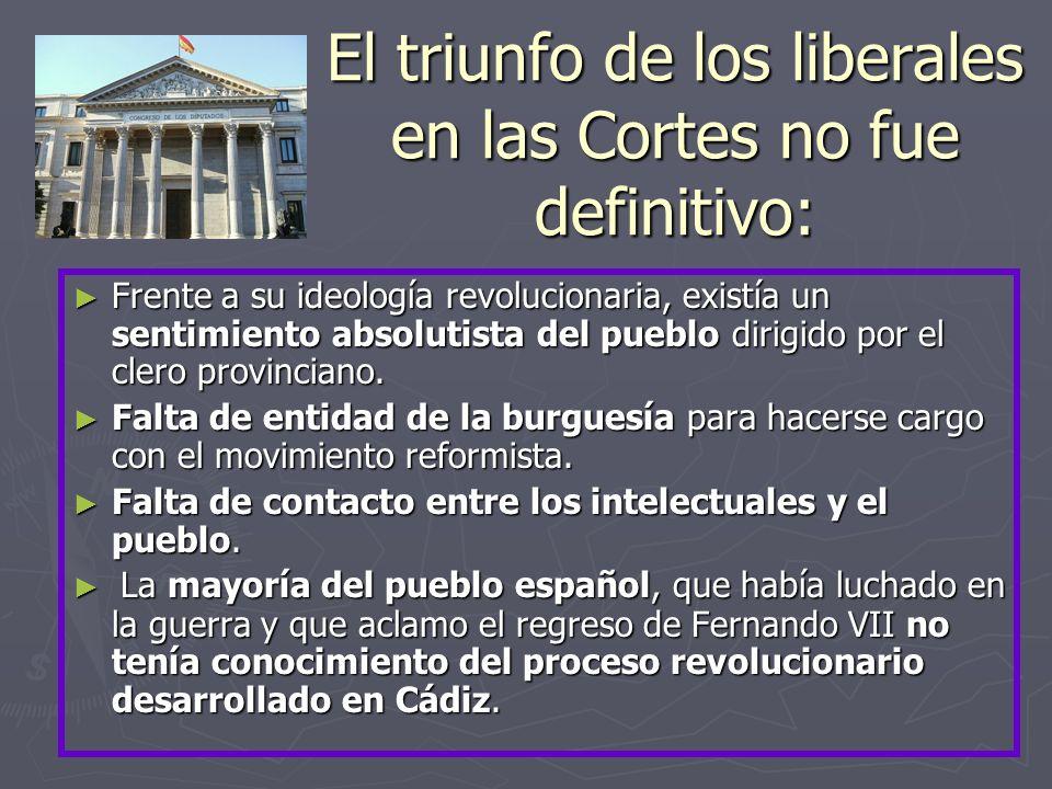 El triunfo de los liberales en las Cortes no fue definitivo: