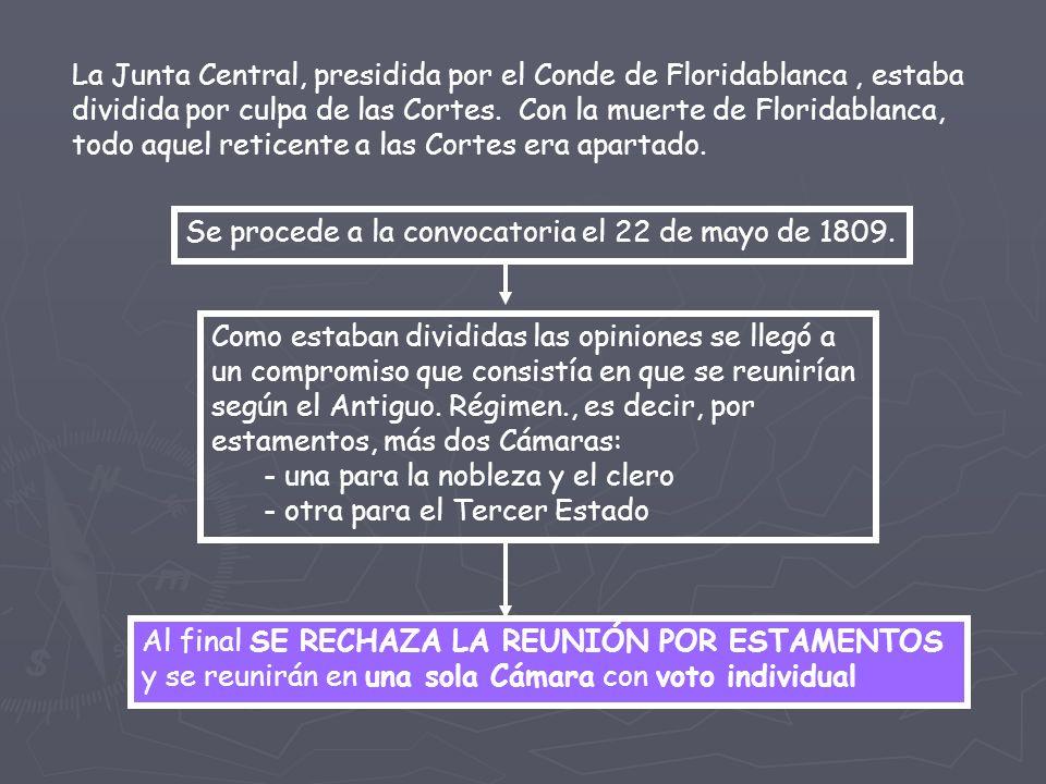 La Junta Central, presidida por el Conde de Floridablanca , estaba dividida por culpa de las Cortes. Con la muerte de Floridablanca, todo aquel reticente a las Cortes era apartado.