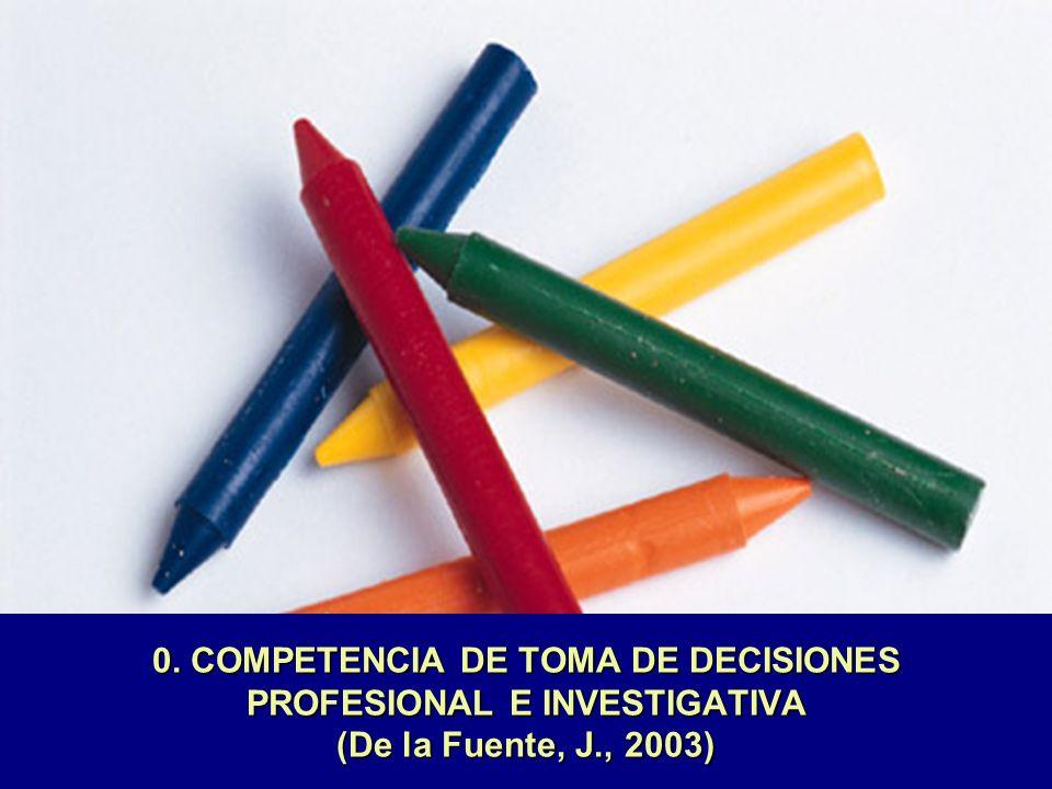 0. COMPETENCIA DE TOMA DE DECISIONES PROFESIONAL E INVESTIGATIVA (De la Fuente, J., 2003)