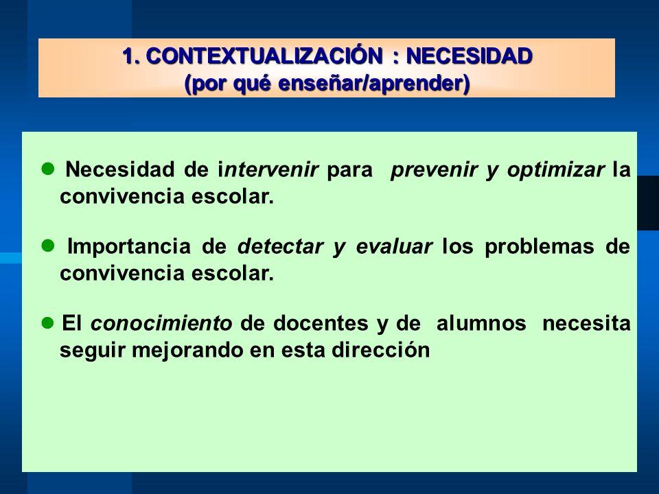 1. CONTEXTUALIZACIÓN : NECESIDAD (por qué enseñar/aprender)