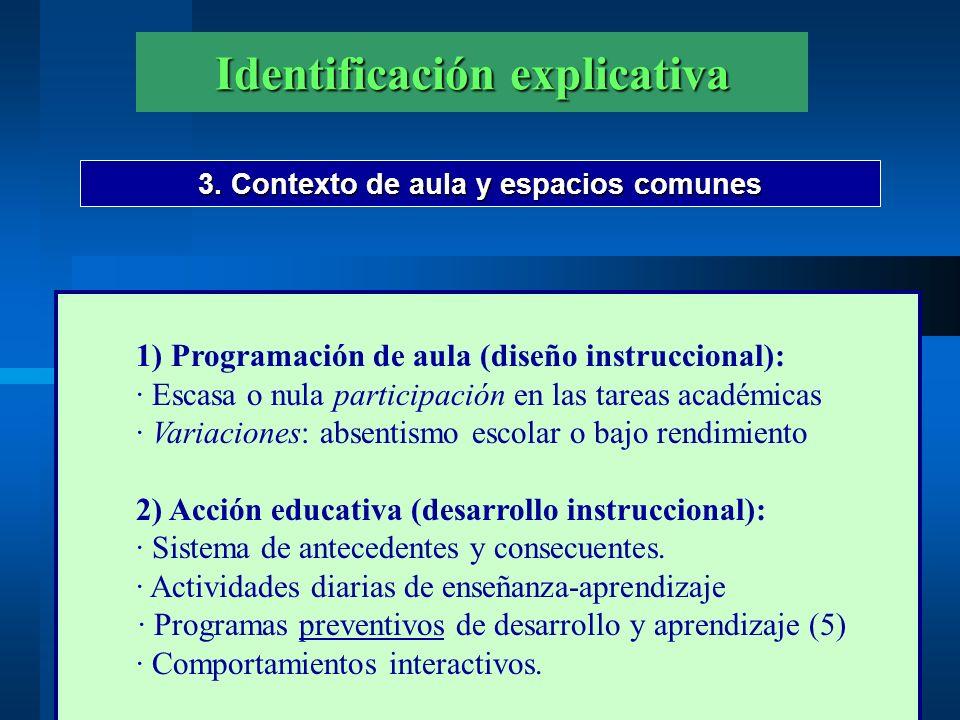 Identificación explicativa 3. Contexto de aula y espacios comunes