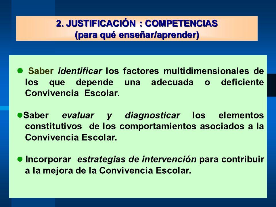 2. JUSTIFICACIÓN : COMPETENCIAS (para qué enseñar/aprender)