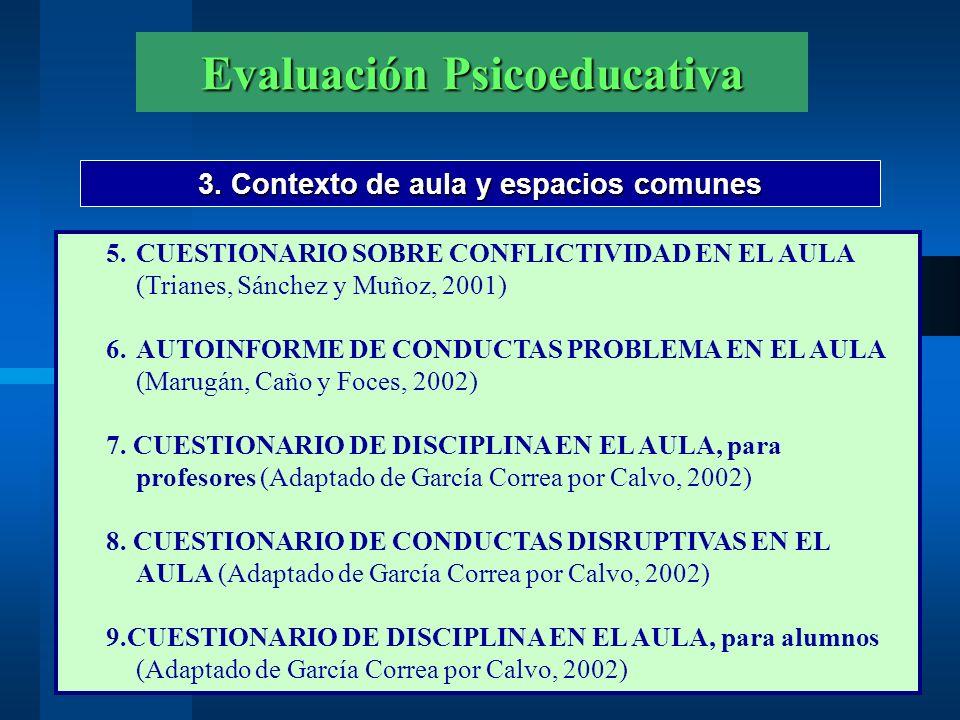 Evaluación Psicoeducativa 3. Contexto de aula y espacios comunes