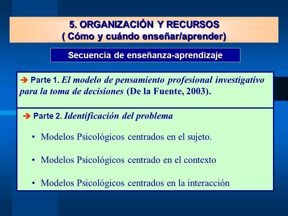 5. ORGANIZACIÓN Y RECURSOS ( Cómo y cuándo enseñar/aprender)