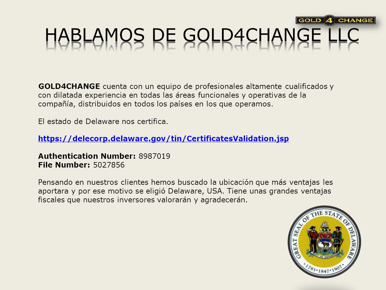 HABLAMOS DE GOLD4CHANGE LLC