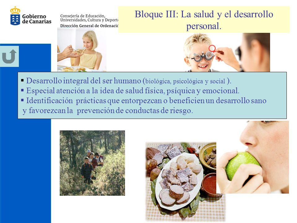 Bloque III: La salud y el desarrollo personal.