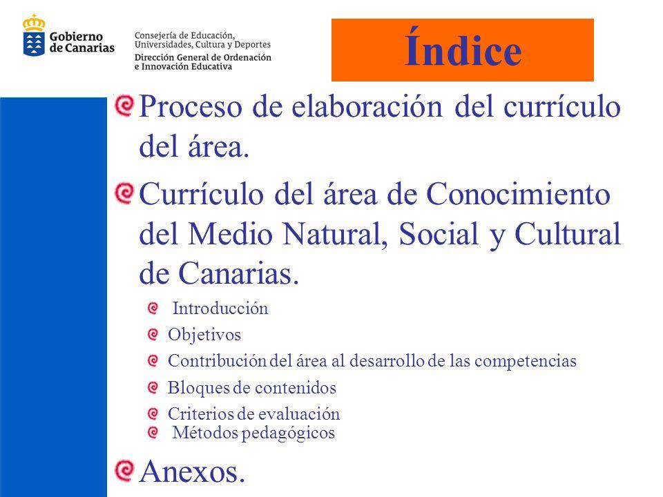Índice Proceso de elaboración del currículo del área.
