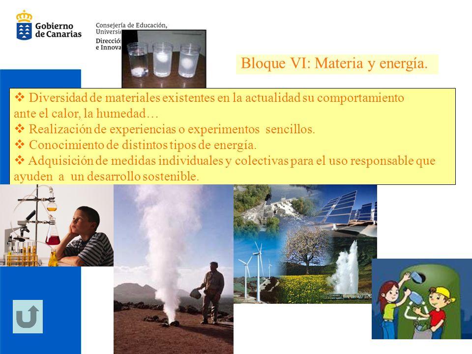 Bloque VI: Materia y energía.