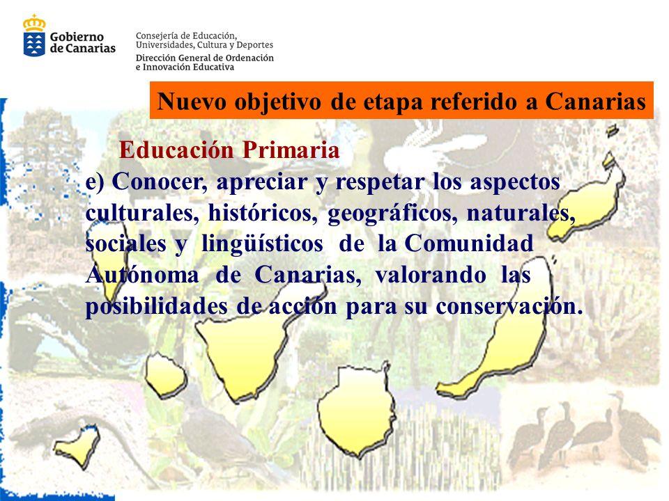 Nuevo objetivo de etapa referido a Canarias