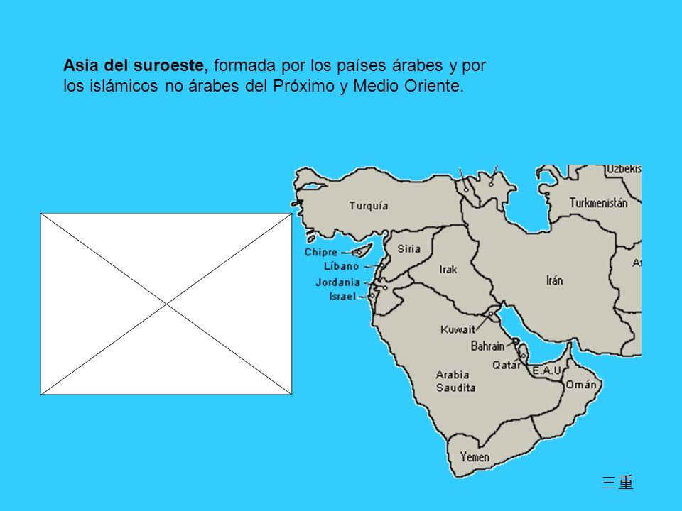 Asia del suroeste, formada por los países árabes y por los islámicos no árabes del Próximo y Medio Oriente.