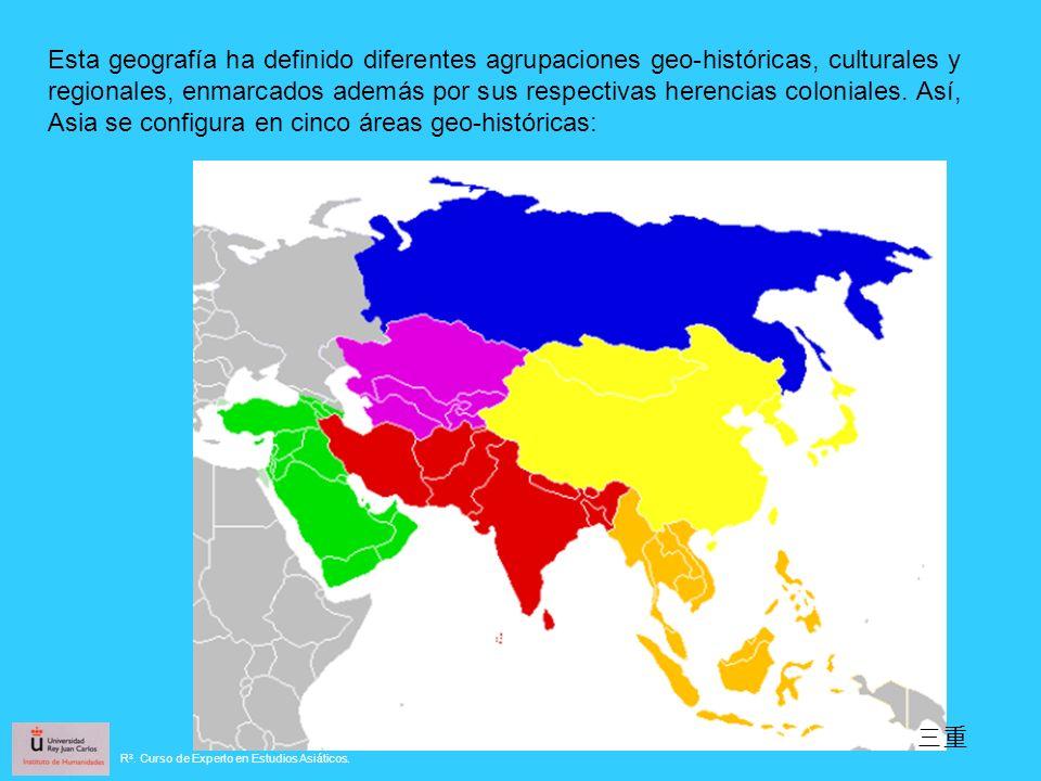 Esta geografía ha definido diferentes agrupaciones geo-históricas, culturales y regionales, enmarcados además por sus respectivas herencias coloniales. Así, Asia se configura en cinco áreas geo-históricas: