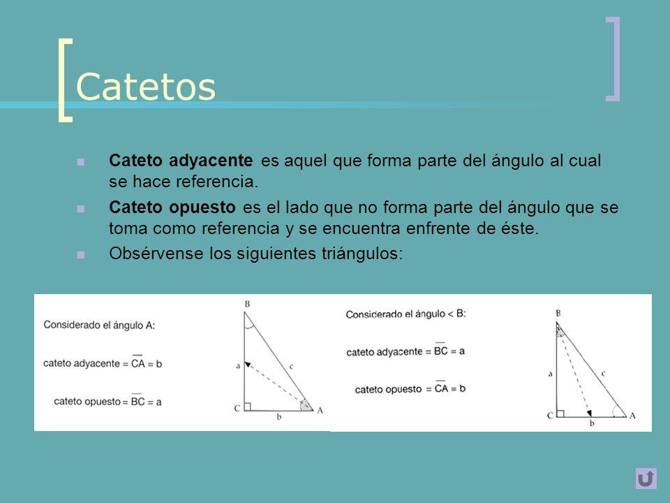 Catetos Cateto adyacente es aquel que forma parte del ángulo al cual se hace referencia.