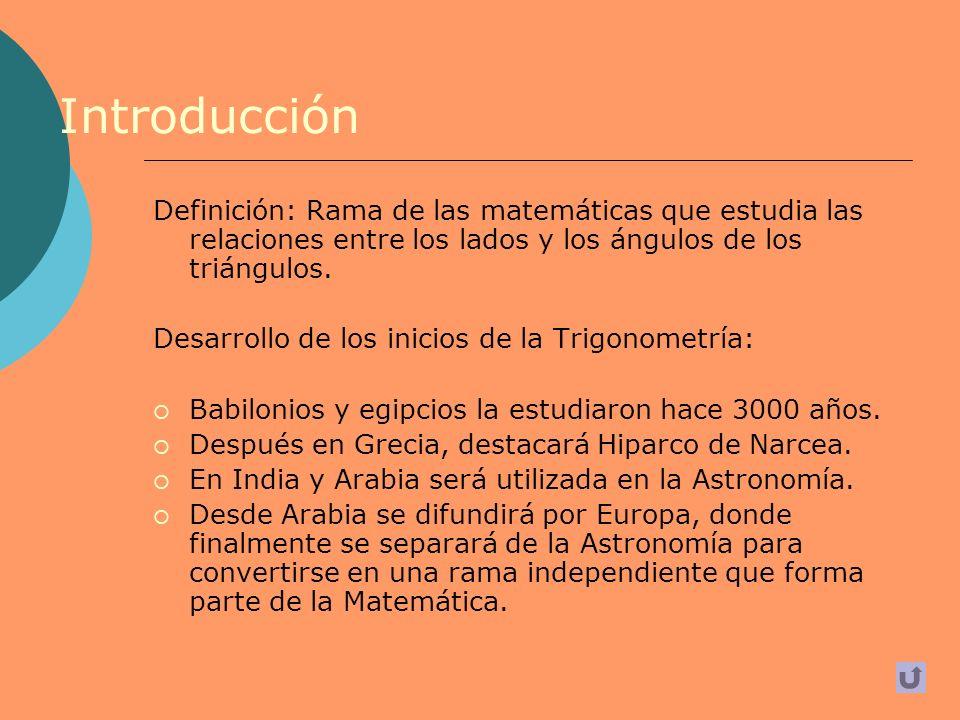 Introducción Definición: Rama de las matemáticas que estudia las relaciones entre los lados y los ángulos de los triángulos.