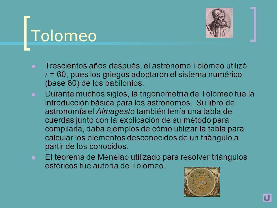 Tolomeo Trescientos años después, el astrónomo Tolomeo utilizó r = 60, pues los griegos adoptaron el sistema numérico (base 60) de los babilonios.