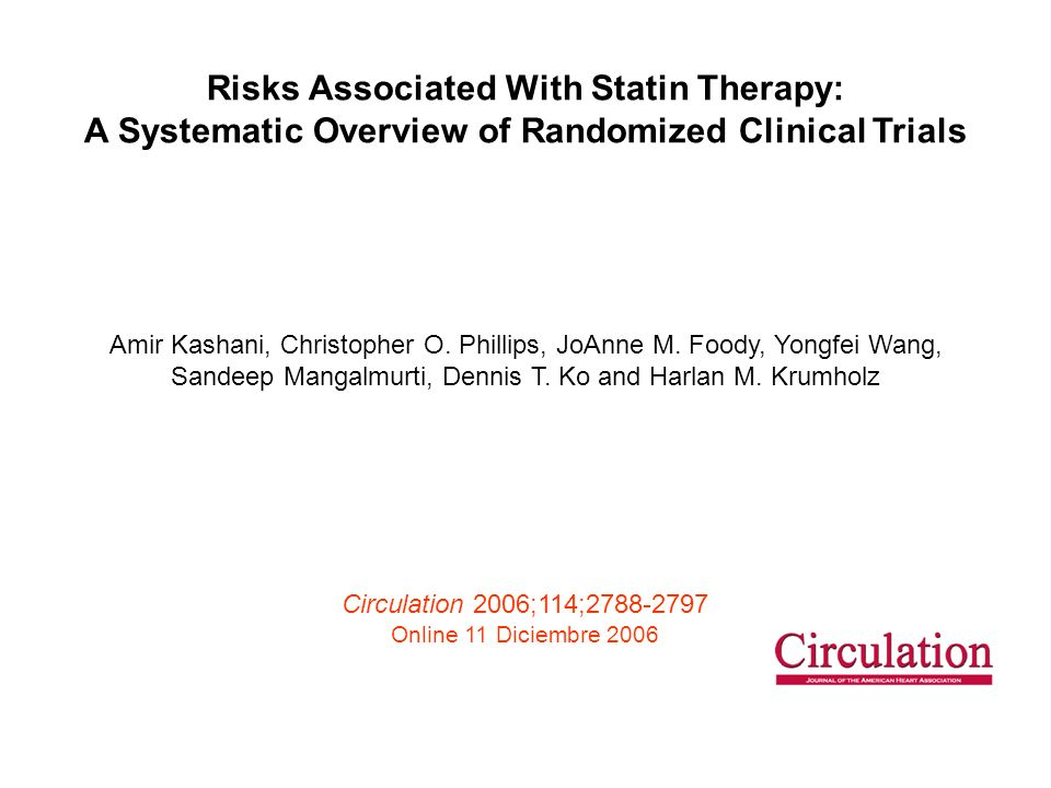 Risks Associated With Statin Therapy: