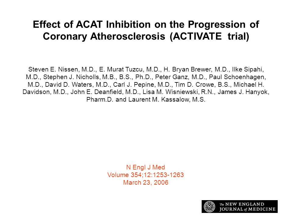 Effect of ACAT Inhibition on the Progression of Coronary Atherosclerosis (ACTIVATE trial)