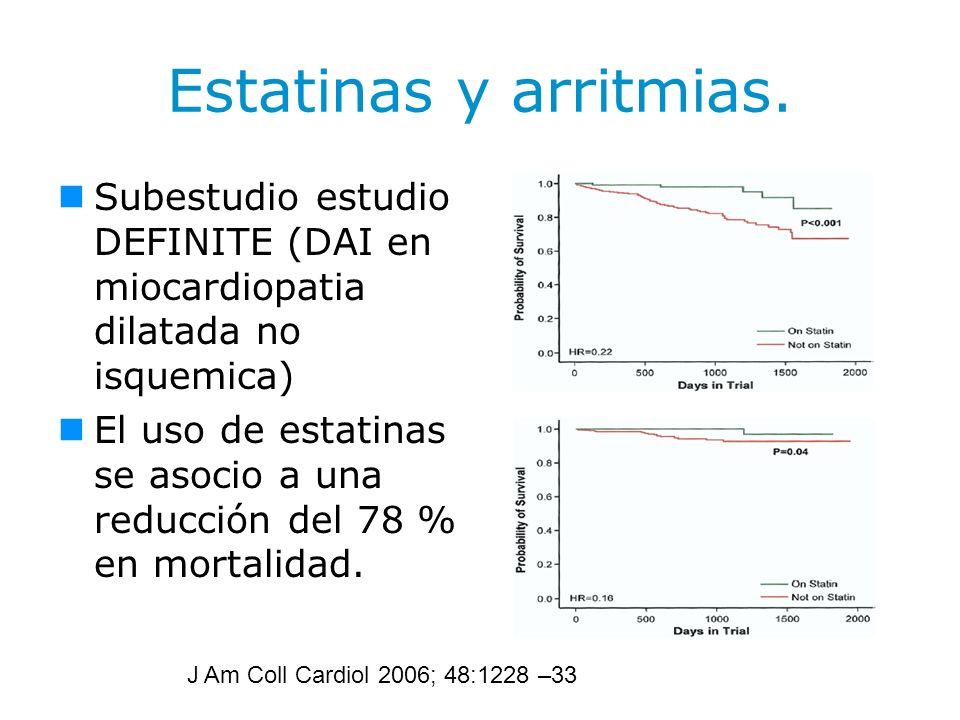 Estatinas y arritmias. Subestudio estudio DEFINITE (DAI en miocardiopatia dilatada no isquemica)