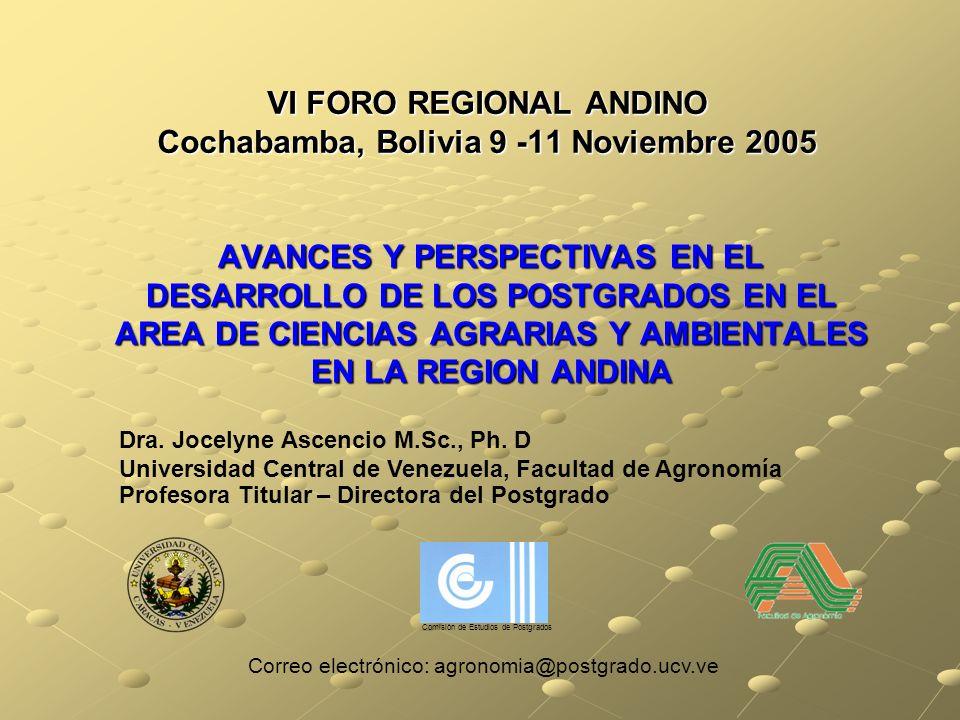 VI FORO REGIONAL ANDINO Cochabamba, Bolivia 9 -11 Noviembre 2005