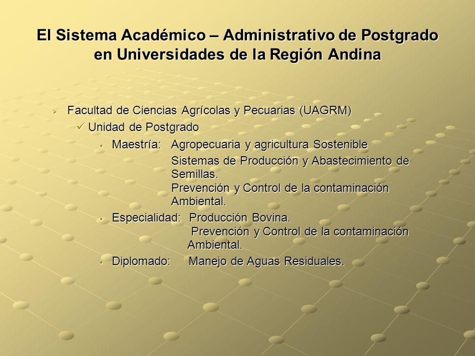 El Sistema Académico – Administrativo de Postgrado en Universidades de la Región Andina