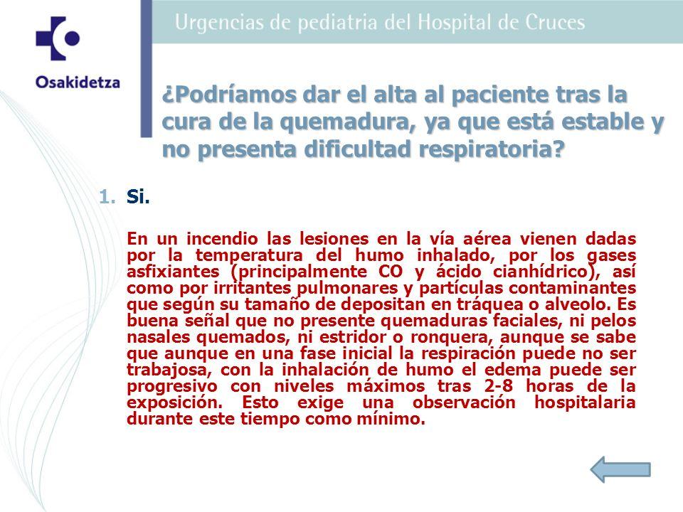 ¿Podríamos dar el alta al paciente tras la cura de la quemadura, ya que está estable y no presenta dificultad respiratoria