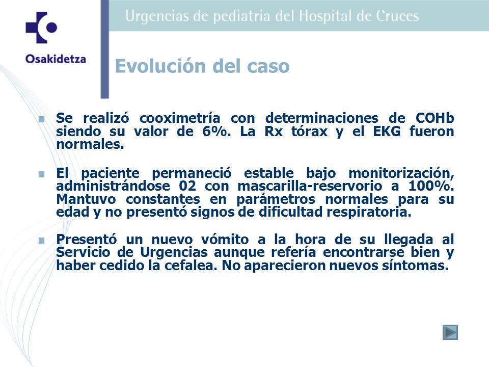 Evolución del caso Se realizó cooximetría con determinaciones de COHb siendo su valor de 6%. La Rx tórax y el EKG fueron normales.