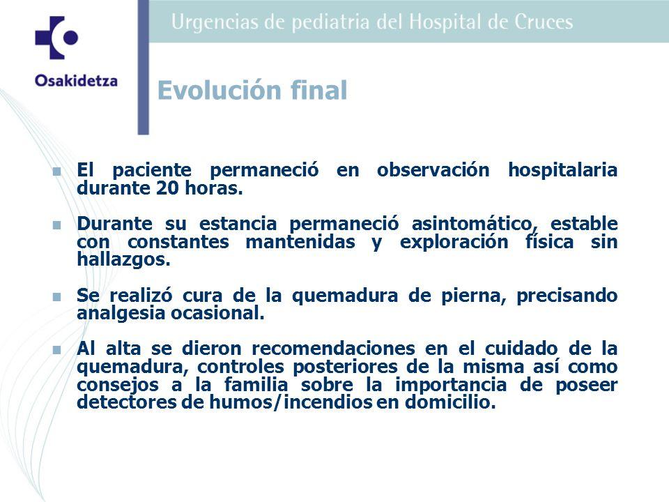 Evolución final El paciente permaneció en observación hospitalaria durante 20 horas.