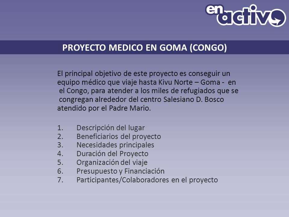 PROYECTO MEDICO EN GOMA (CONGO)