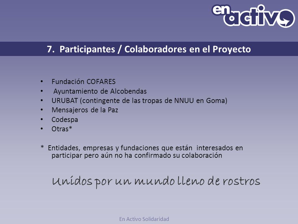7. Participantes / Colaboradores en el Proyecto