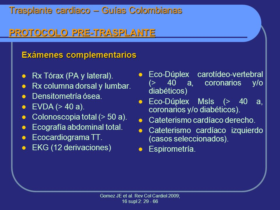 Trasplante cardiaco – Guías Colombianas PROTOCOLO PRE-TRASPLANTE