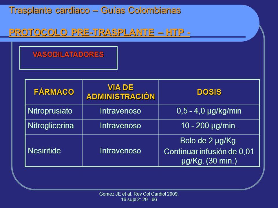 Trasplante cardiaco – Guías Colombianas PROTOCOLO PRE-TRASPLANTE – HTP -
