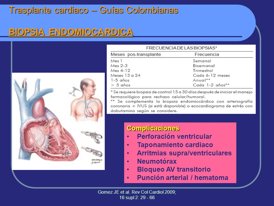 Trasplante cardiaco – Guías Colombianas BIOPSIA ENDOMIOCARDICA