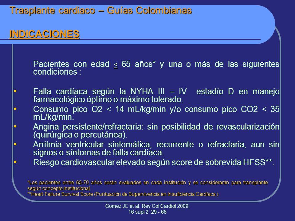 Trasplante cardiaco – Guías Colombianas INDICACIONES