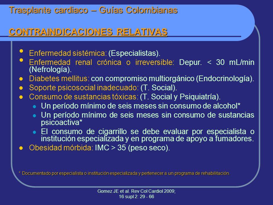 Trasplante cardiaco – Guías Colombianas CONTRAINDICACIONES RELATIVAS