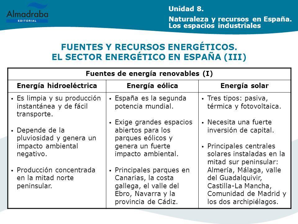 FUENTES Y RECURSOS ENERGÉTICOS. EL SECTOR ENERGÉTICO EN ESPAÑA (III)
