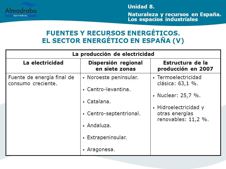 FUENTES Y RECURSOS ENERGÉTICOS. EL SECTOR ENERGÉTICO EN ESPAÑA (V)