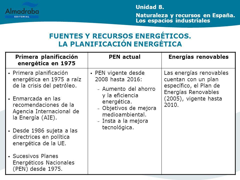 FUENTES Y RECURSOS ENERGÉTICOS. LA PLANIFICACIÓN ENERGÉTICA
