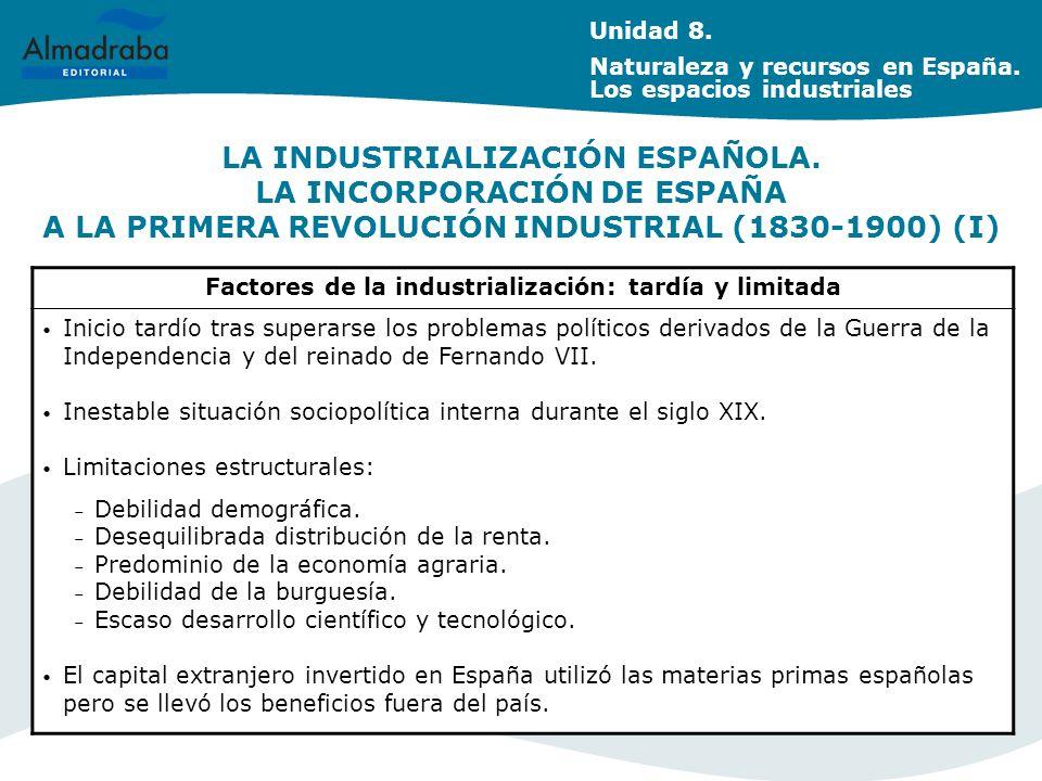 Factores de la industrialización: tardía y limitada