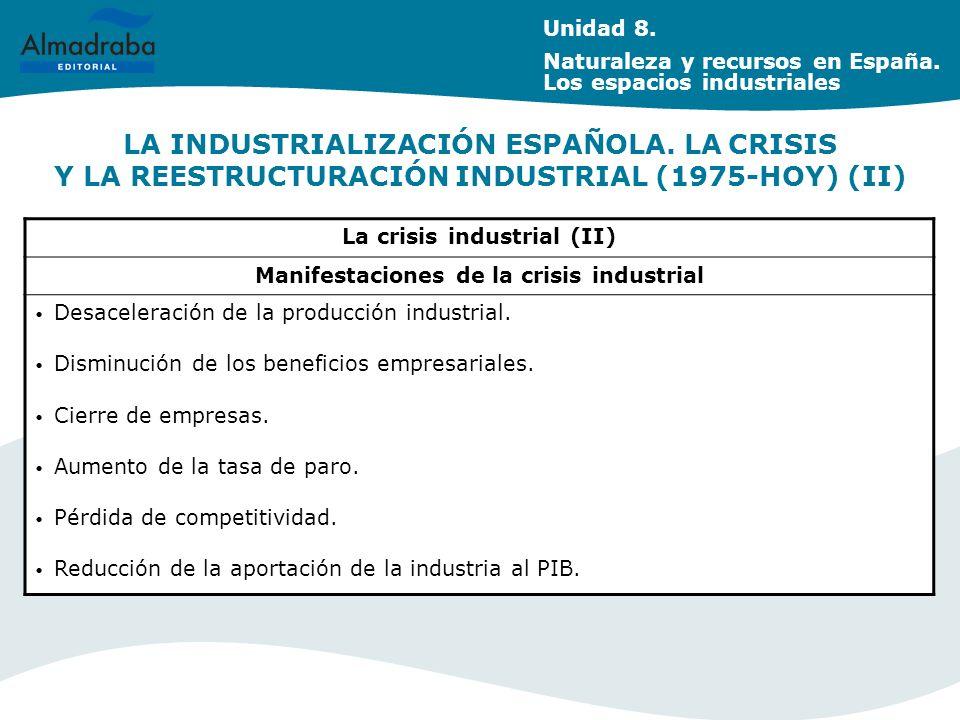 La crisis industrial (II) Manifestaciones de la crisis industrial