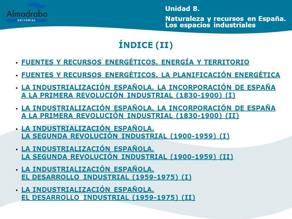 Unidad 8. Naturaleza y recursos en España. Los espacios industriales. ÍNDICE (II) FUENTES Y RECURSOS ENERGÉTICOS. ENERGÍA Y TERRITORIO.