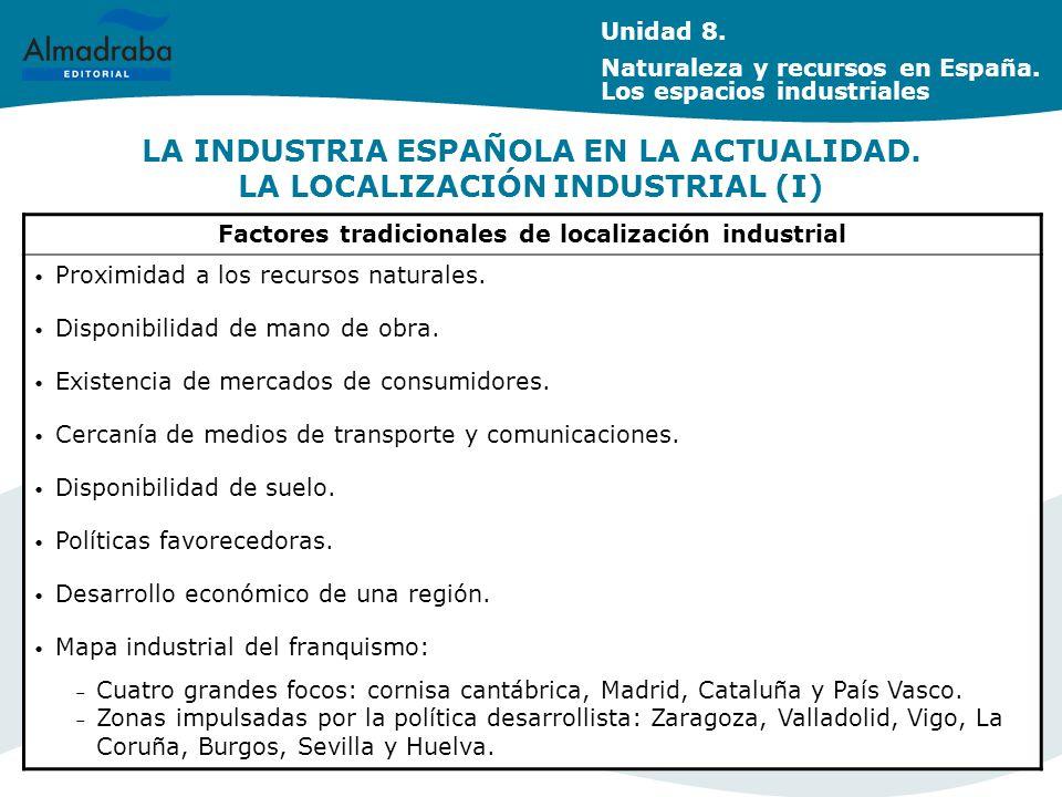 LA INDUSTRIA ESPAÑOLA EN LA ACTUALIDAD. LA LOCALIZACIÓN INDUSTRIAL (I)