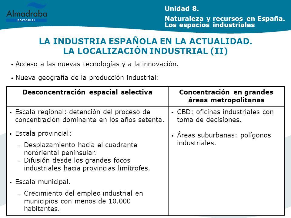Unidad 8. Naturaleza y recursos en España. Los espacios industriales. LA INDUSTRIA ESPAÑOLA EN LA ACTUALIDAD. LA LOCALIZACIÓN INDUSTRIAL (II)